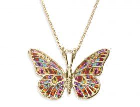 handmade vermeil butterfly necklace millefiori