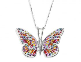 handmade silver butterfly necklace millefiori
