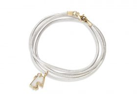 Handmade vermeil angel charm leather bracelet - pearl pattern