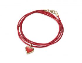 Handmade vermeil heart charm leather bracelet - red coral pattern