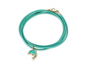 Handmade vermeil dolphin charm leather bracelet -turquoise pattern