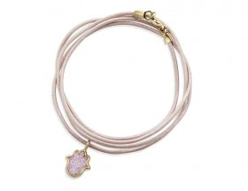 Handmade vermeil hamsa charm leather bracelet - rose quartz pink pattern