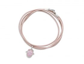 Handmade silver hamsa charm leather bracelet - rose quartz pink pattern