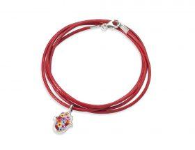 Handmade silver hamsa charm leather bracelet - millefiori pattern