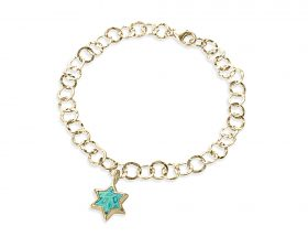 Handmade vermeil star of david charm links bracelet - turquoise pattern