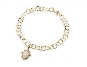 Handmade vermeil hamsa charm links bracelet - pearl pattern