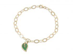 Handmade vermeil leaf charm links bracelet - jade green pattern