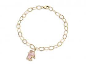 Handmade vermeil angel charm links bracelet - rose quartz pink pattern