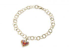 Handmade vermeil heart charm links bracelet - millefiori pattern