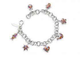 Handmade Silver Seven Blessings Charm Bracelet - Millefiori Pattern