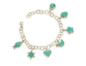 Handmade Gold-filled and Vermeil Seven Blessings Charm Bracelet - Turquoise Pattern
