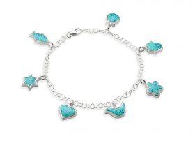 Handmade Silver Seven Blessings Charm Bracelet - Turquoise Pattern