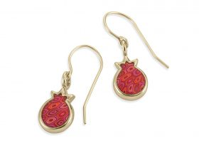 Handmade Vermeil Pomegranate Charm Earrings - Red Coral Pattern