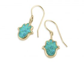 Handmade Vermeil Hamsa Charm Earrings - Turquoise Pattern
