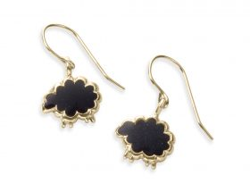 Handmade Vermeil Black sheep Charm Earrings - Black Pattern