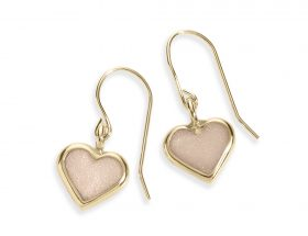Handmade Vermeil Heart Charm Earrings - Pearl Pattern