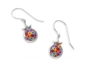 Handmade Silver Pomegranate Charm Earrings - Millefiori Pattern
