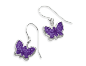 Handmade Silver Butterfly Charm Earrings - Purple Pattern for girls