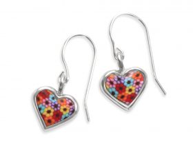 Handmade Silver Heart Charm Earrings - Millefiori Pattern
