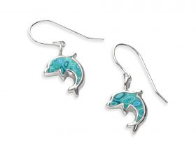 Handmade Silver Dolphin Charm Earrings - Turquoise Pattern
