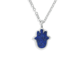 Handmade Silver Hamsa Charm Necklace - Blue Pattern