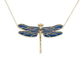 Handmade vermeil dragonfly necklace - blue pattern