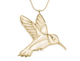 handmade vermeil hummingbird necklace pearl