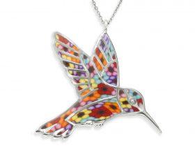 handmade silver hummingbird necklace millefiori