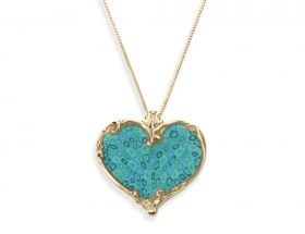 Handmade Vermeil Heart Art Nuvo Necklace - Turquoise Pattern