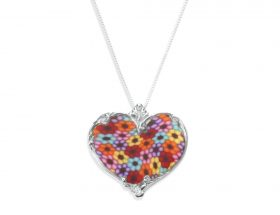 Handmade Silver Heart Necklace - Millefiori Pattern