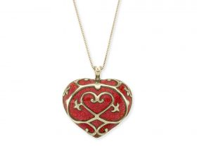 Handmade Vermeil Heart Long Necklace -Red Coral Pattern