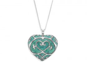 Handmade Silver Heart Long Necklace - Turquoise Pattern