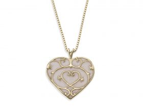 Handmade Vermeil Small Heart Necklace - Pearl Pattern