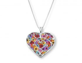 Handmade Vermeil Small Heart Necklace - Millefiori Pattern