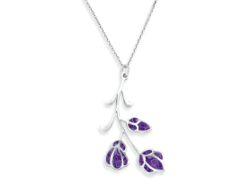Handmade Silver Frida Kahlo Flowers Necklace - Purple Pattern