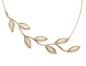 handmade long vermeil olive leaf necklace pearl