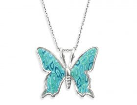 handmade silver small butterfly necklace turquoise