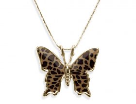 Handmade vermeil small butterfly necklace - leopard pattern