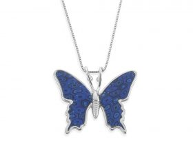 Handmade silver small butterfly necklace - blue pattern
