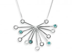 Handmade Silver Senecio Flower Necklace - Turquoise Pattern