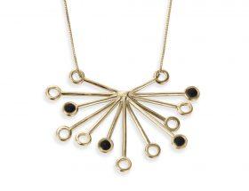 Handmade Vermeil Senecio Flower Necklace - Black Pattern