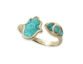 Handmade vermeil hamsa and eye adjustable ring - turquoise pattern