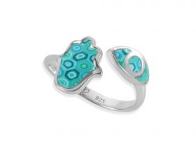Handmade silver hamsa and eye adjustable ring - turquoise pattern