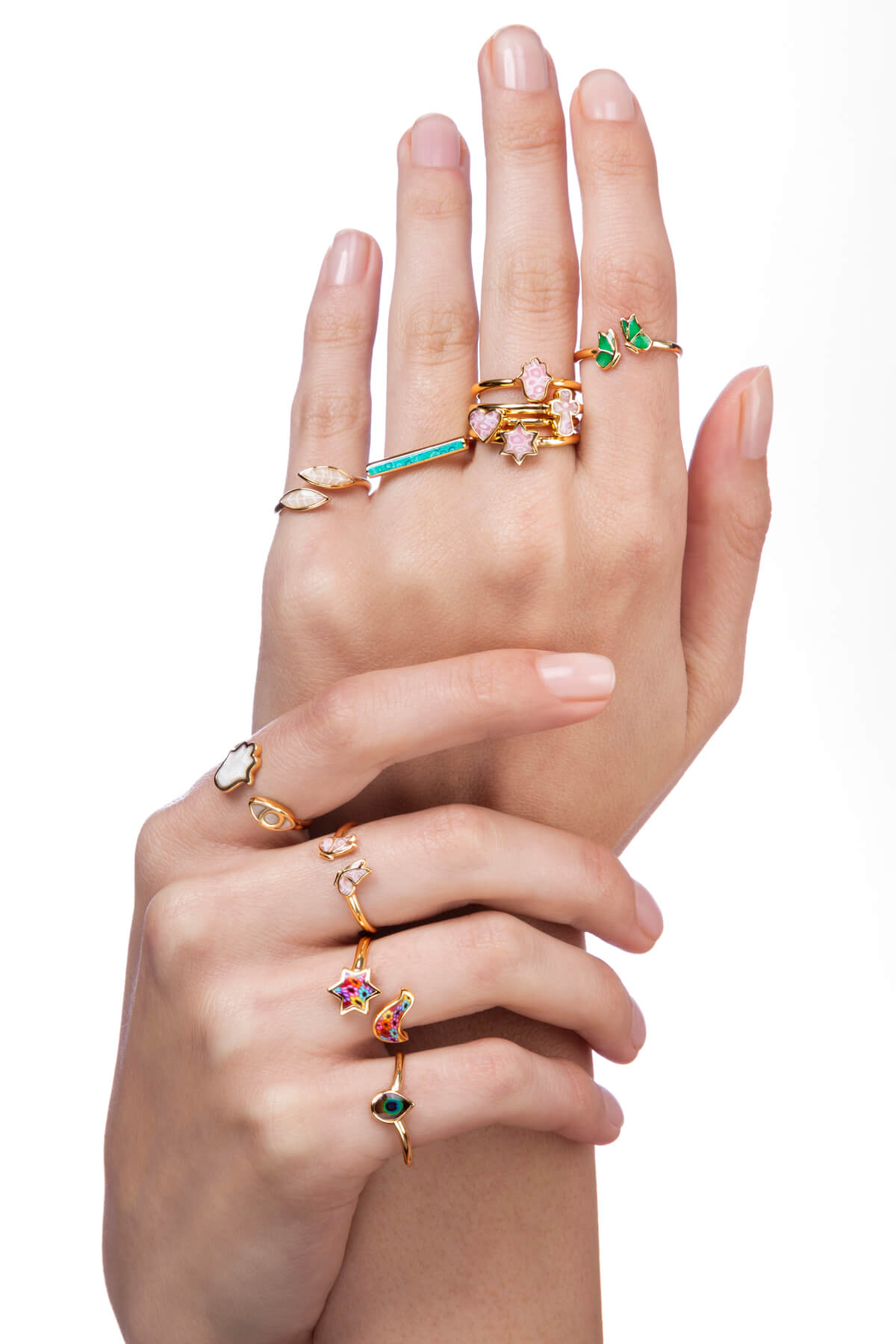 Silver and vermeil rings by Adina Plastelina jewelry