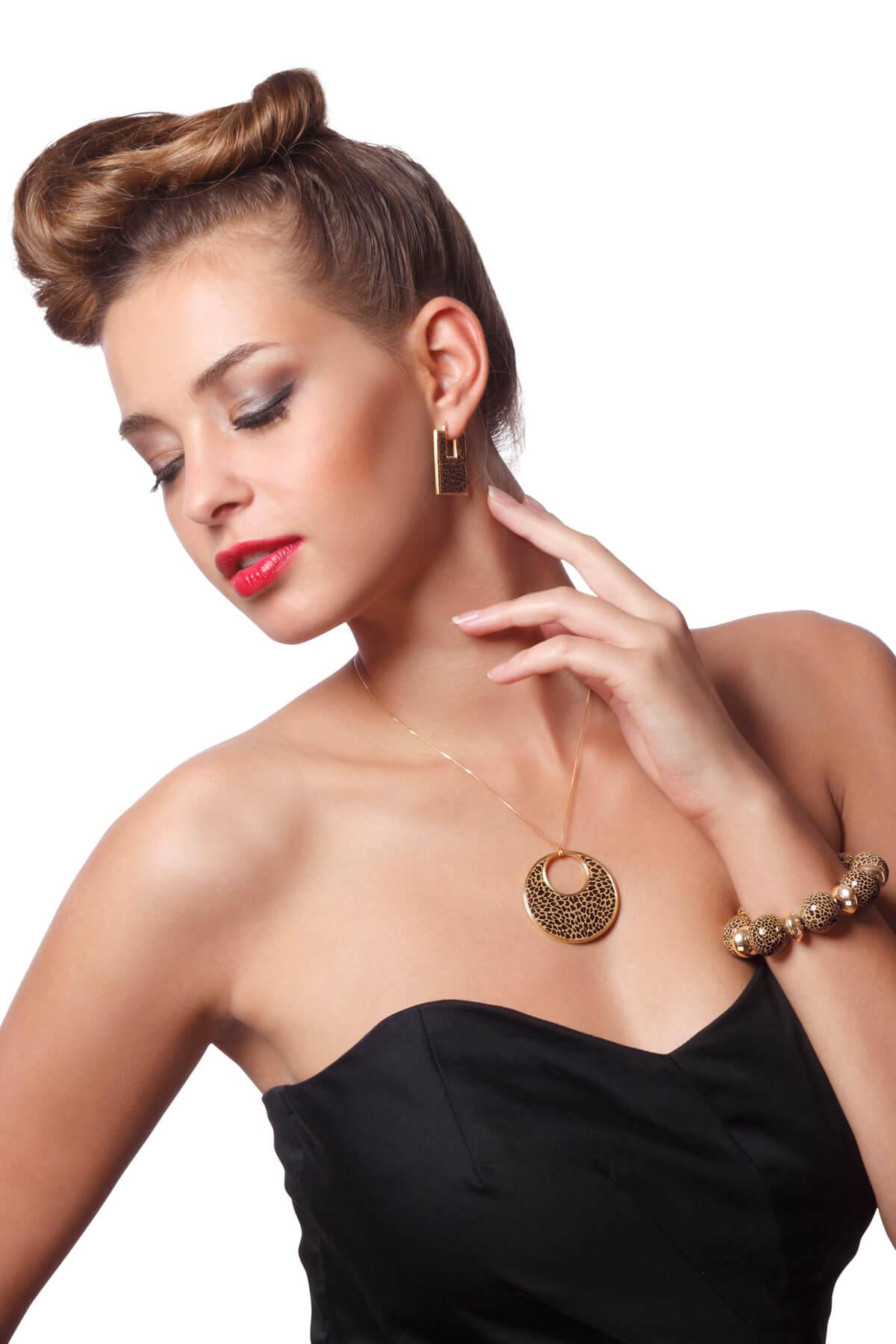Handmade Vermeil Round Afro Necklace  – Leopard Pattern