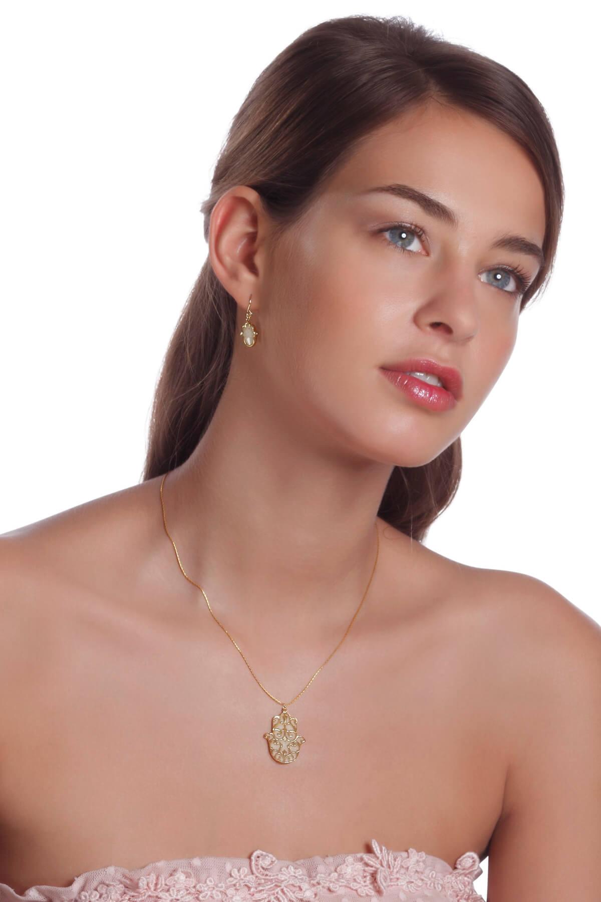 Handmade Vermeil Hamsa Necklace and earrings  – Pearl Pattern