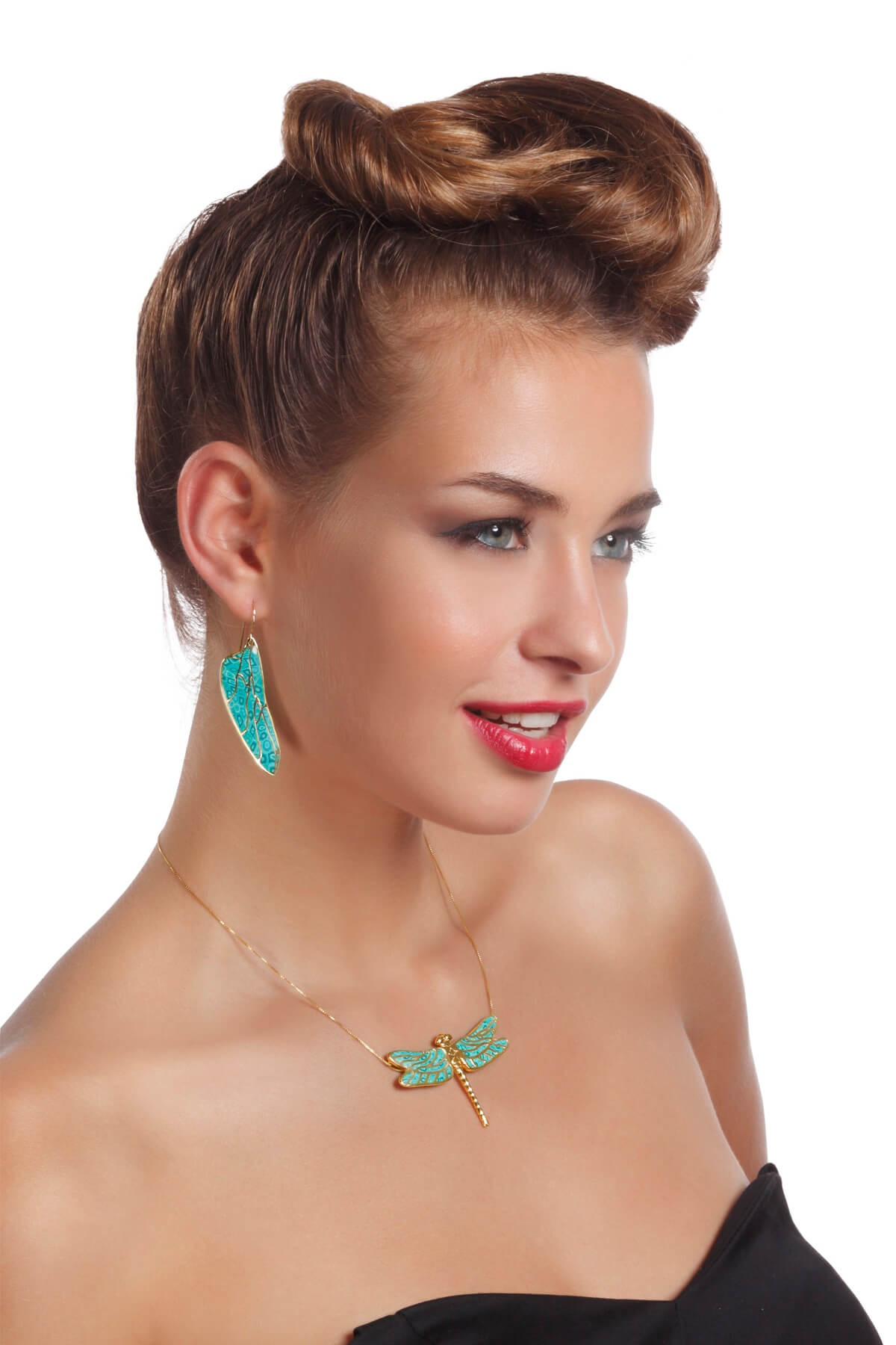 Handmade vermeil dragonfly necklace and dragonfly wings earrings – turquoise pattern
