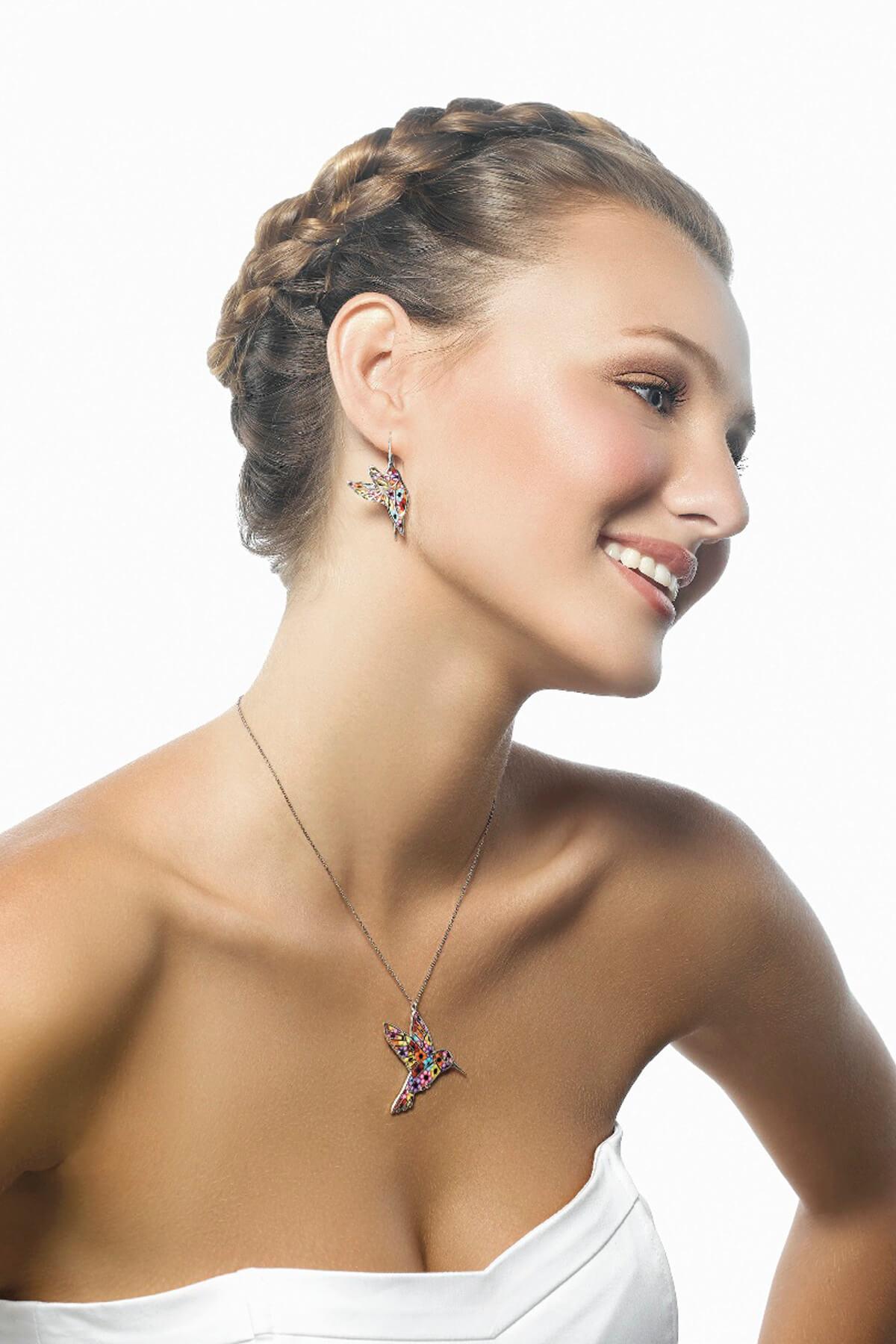 handmade silver hummingbird necklace & earrings millefiori