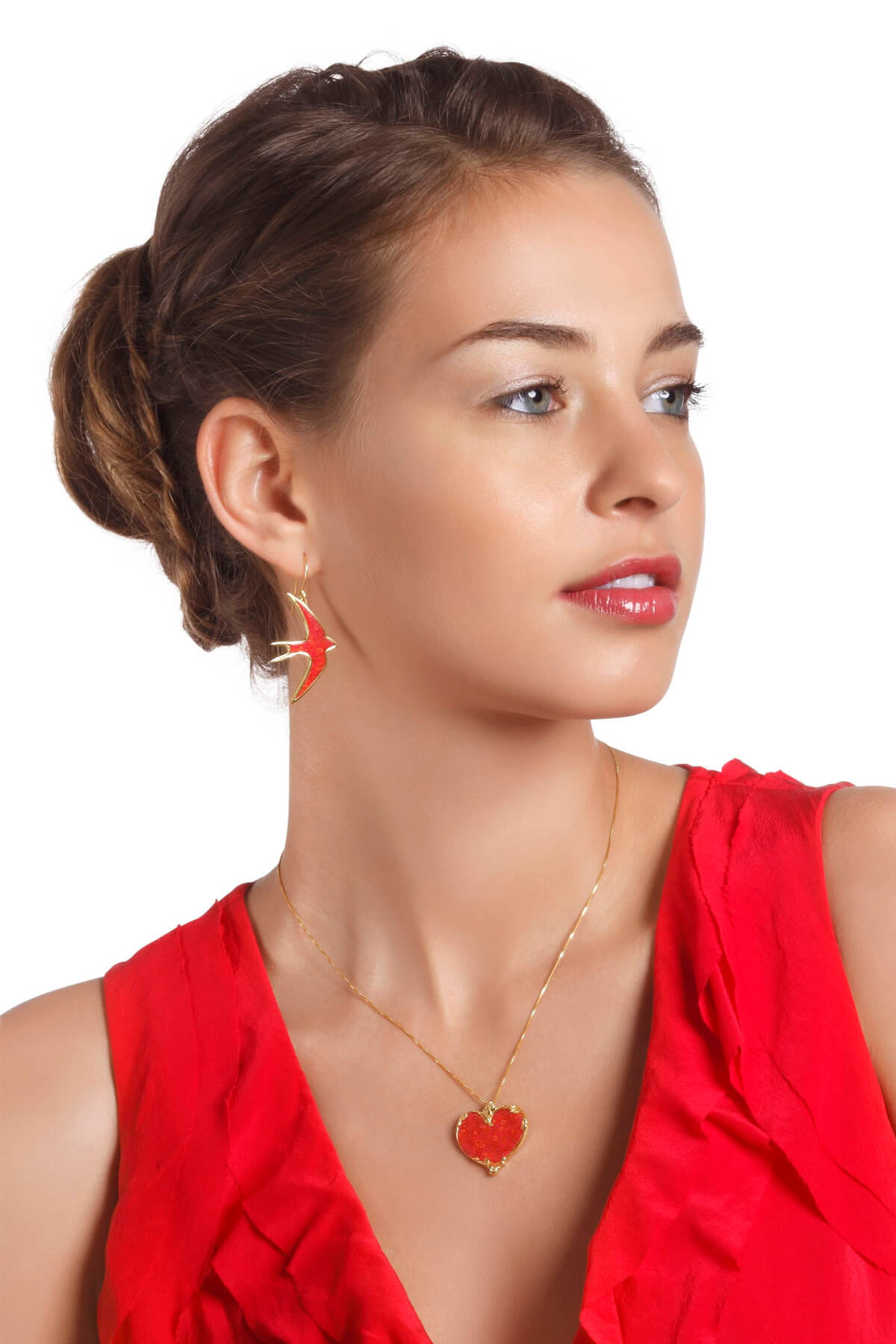 Handmade Vermeil Heart Art Nuvo Necklace & Swallow Earrings  – Red Coral Pattern