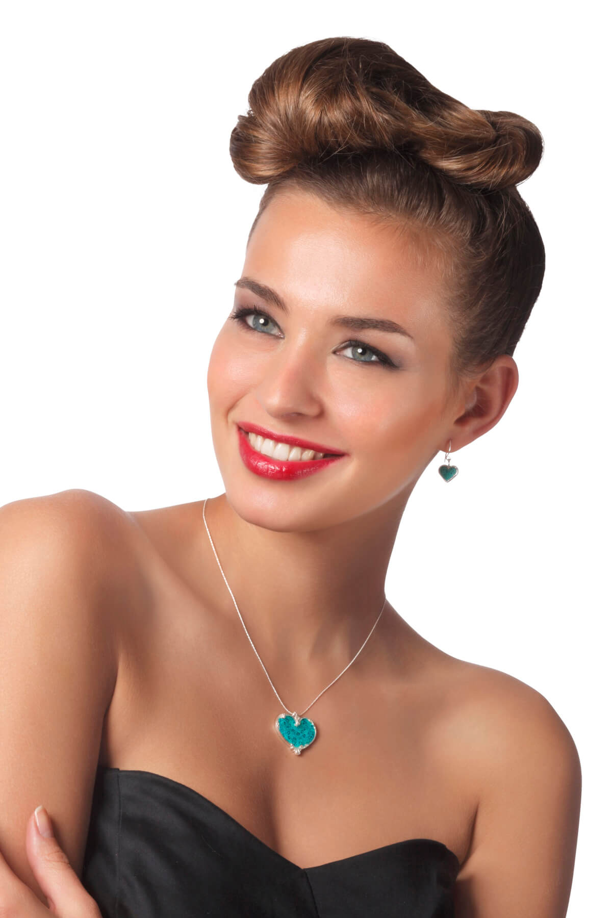 Handmade Silver Heart Art Nuvo Necklace & earrings  – Turquoise Pattern